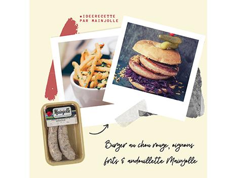 Recette : burger au chou rouge, oignons frits et andouillette