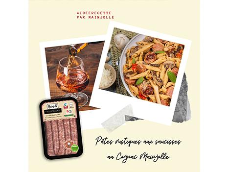 Recette : pâtes rustiques aux saucisses au Cognac